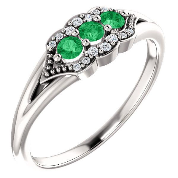 Three-Stone Emerald Tri-Set Diamond Ring, 14K White Gold
