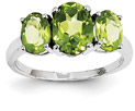 Three-Stone Oval Peridot Gemstone Ring, 14K White Gold