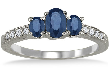 Three-Stone Oval Sapphire Diamond Ring, 14K White Gold