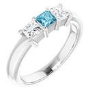 three-stone princess-cut aquamarine and diamond ring, 14k white gold