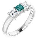 three-stone princess-cut lab made alexandrite and genuine diamond ring