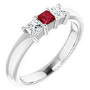 three-stone princess-cut ruby and diamond ring, 14k white gold