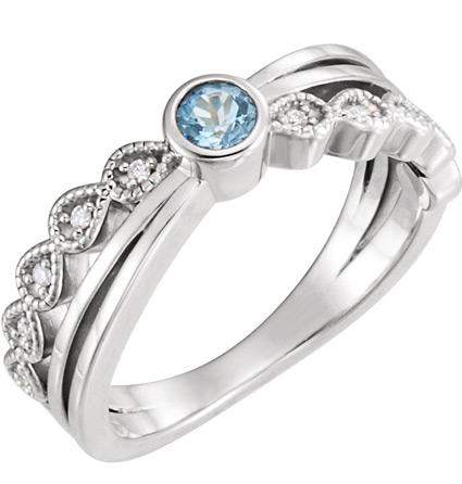 Trend-Setting Bezel-Set Aquamarine and Diamond Ring