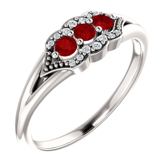 Tri-Set Ruby and Diamond Three Stone Ring, 14K White Gold