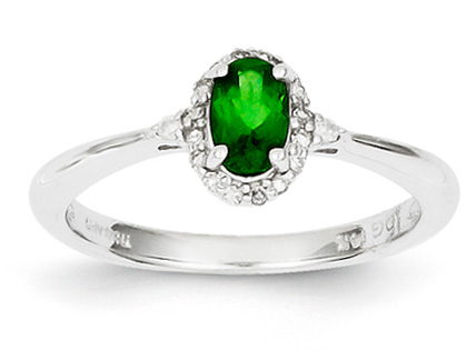 Tsavorite and Diamond Ring, 14K White Gold