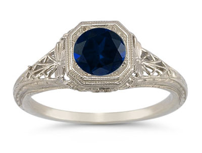 Victorian-Era Style Filigree Sapphire Ring in 14K White Gold