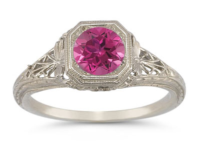 Victorian-Era Style Pink Topaz Filigree Ring in 14K White Gold