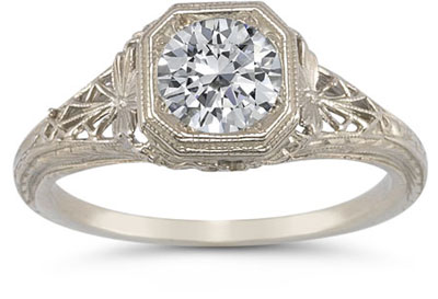 Victorian-Period Style Filigree Moissanite Ring in 14K White Gold