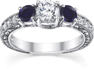 Victorian-Style Sapphire and Diamond Three Stone Engagement Ring, 14K White Gold