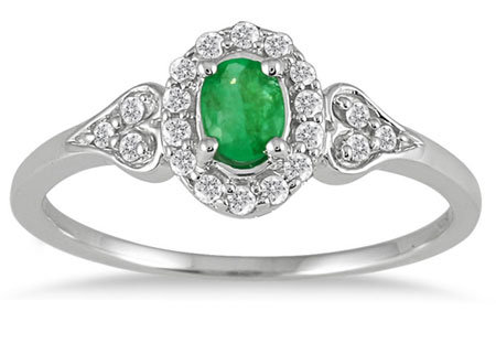 Vintage-Style Emerald and Diamond Ring, 10K White Gold