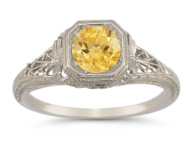 Vintage-Style Filigree Citrine Ring in 14K White Gold
