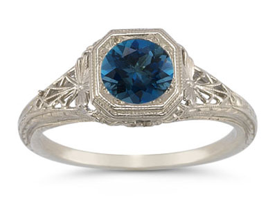 Vintage-Style Filigree London Blue Topaz Ring in 14K White Gold