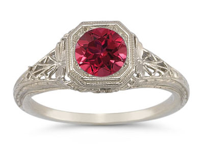 Vintage-Style Filigree Ruby Ring in 14K White Gold