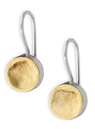 Round Dent Earrings in 14K Gold and Sterling Silver
