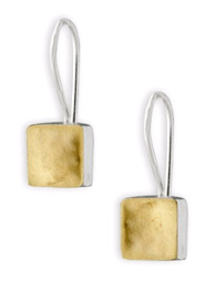 Square Dent Earrings in 14K Gold and Sterling Silver