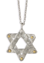 Sterling Silver and 14K Gold Star of David Pendant, Handmade in Israel (Necklaces, Apples of Gold)