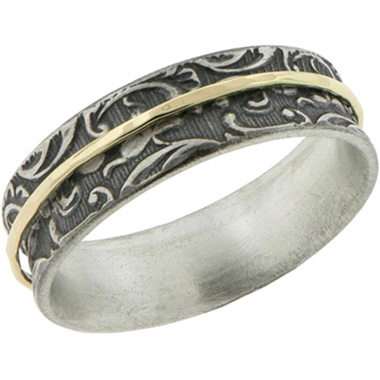 Paisley Sterling Silver and 14K Yellow Gold Spinner Ring