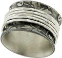 Organic Leaf Pattern Spinner Ring in Sterling Silver