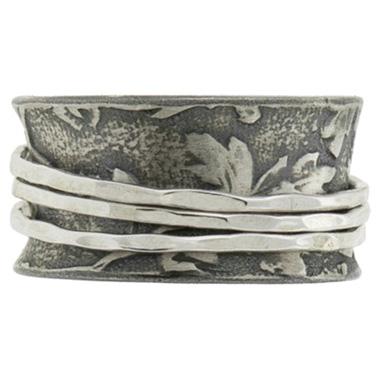 leaf-imprint silver wedding band