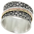 Organic Leaf Imprint Spinner Ring in Sterling Silver and 14K Gold