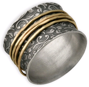 Buy Sterling Silver and 14K Gold Leaf Print Spinner Ring
