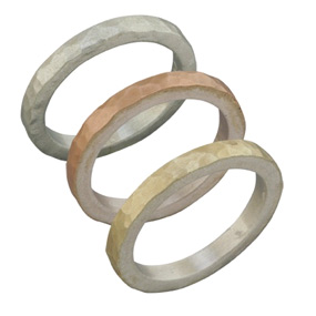 Set of 3 Handcrafted Hammered Bands in 14K Yellow Gold, Rose Gold, and Sterling Silver (Rings, Apples of Gold)