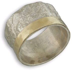 FINAL SALE - SIZE 13 - Sterling Silver and 14K Gold Handcrafted Rugged Band