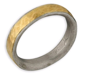 Hammered Wedding Band in 14K Gold and Sterling Silver
