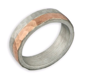 Hammered 14K Rose Gold and Sterling Silver Wedding Band