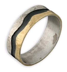 Black Wave Ring in 14K Yellow Gold and Sterling Silver