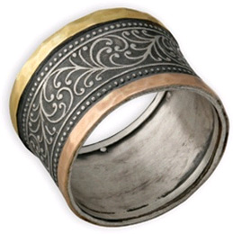 14K Yellow Gold, Rose Gold, and Silver Paisley Wedding Band (Rings, Apples of Gold)