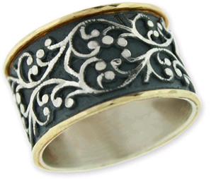 Antiqued Sterling Silver and 14K Gold Filigree Band