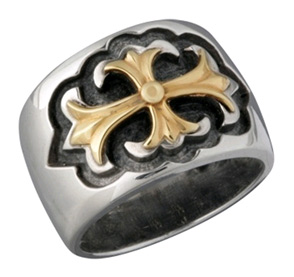 Gothic Cross Ring in 14K Gold and Sterling Silver