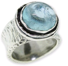 Natural Aquamarine Moon Ring in Sterling Silver