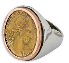 Alexander the Great Coin Ring in 14K Rose Gold and Sterling Silver