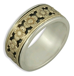 14K Yellow Gold and Sterling Silver Floral Wedding Band (Rings, Apples of Gold)