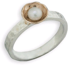 Handmade Pearl Ring in 14K Rose Gold and Sterling Silver