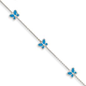 Blue Enameled Butterfly Anklet, 14K White Gold
