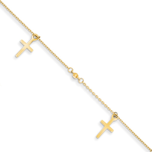 Cross Anklet, 14K Gold