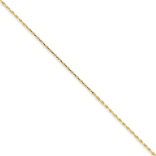 Diamond-Cut 1.15mm Rope Chain Anklet, 14K Gold