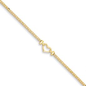 Designer Heart Anklet, 14K Yellow Gold