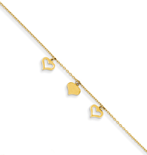 14K Gold Heart Anklet