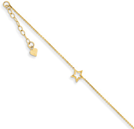Star Anklet, 14K Gold