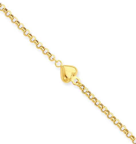 Puff Heart Anklet, 14K Yellow Gold