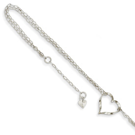Heart Anklet Double-Strand Chain in 14K White Gold