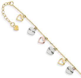 Heart Charm Dangle Anklet, 14K Tri-Color Gold