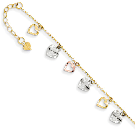 Heart Charm Dangle Anklet, 14K Tri-Color Gold