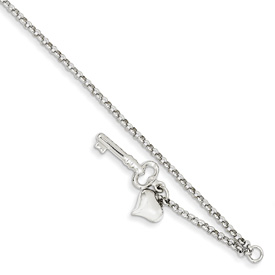 Heart and Key Anklet, 14K White Gold