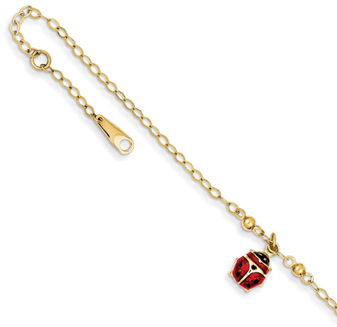 Ladybug Anklet in 14k Yellow Gold