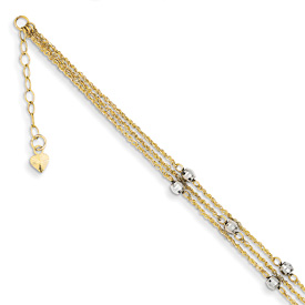 Triple-Strand 14K Two-Tone Gold Anklet